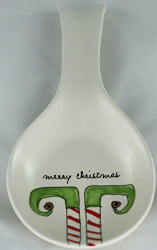 Rae Dunn Magenta Ceramic Spoon Rest Elf Feet Merry Christ... | Rae ...