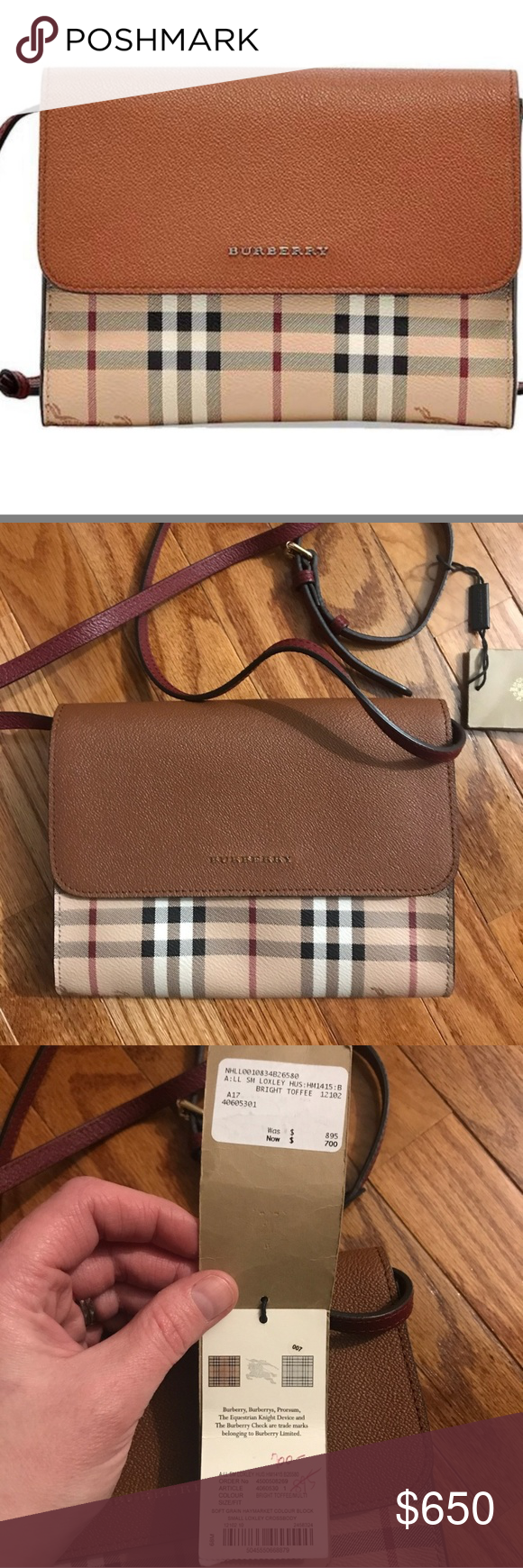 7282a777de Burberry Haymarket Check Loxley Womens Purse Burberry Haymarket Check  Loxley Womens Bright Toffee Leather Cross body
