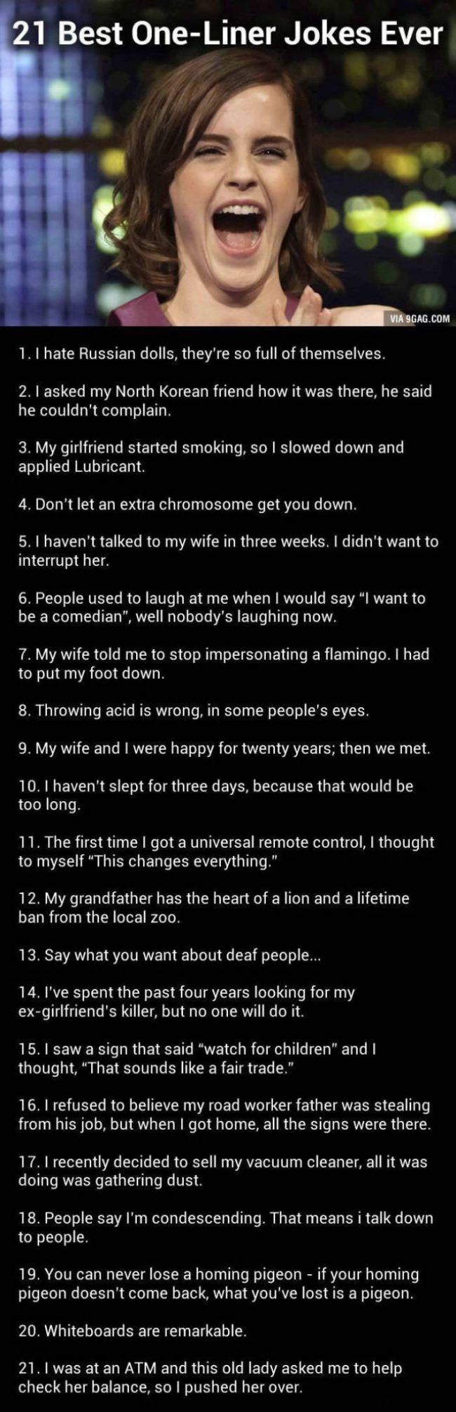 21 Best One Liner Jokes Ever