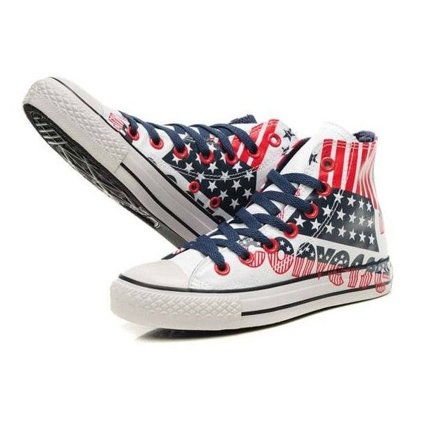 Blue Red Converse All Star American Flag And Letters Graffiti High Top...  (693.110 IDR) ❤ liked on Polyvore featuring shoes, sneakers, all star,  converse, ...
