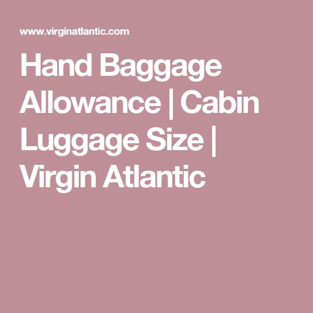 Hand Baggage Allowance | Cabin Luggage Size | Virgin