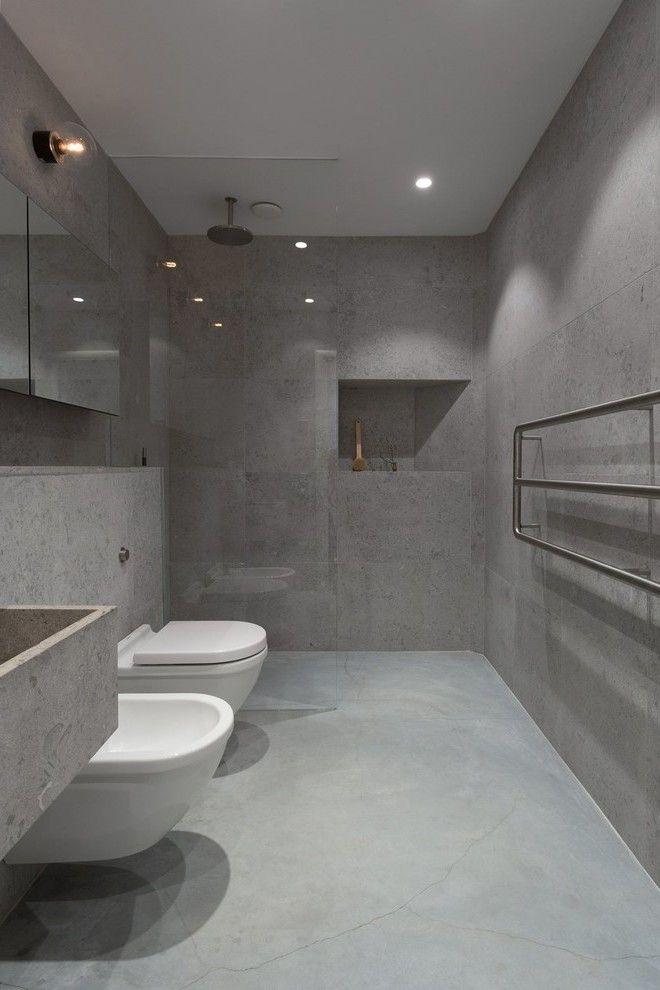 Der neue Trend fr das Badezimmer Betonoptik  House  Badezimmer Betonoptik und Bodenfliesen bad