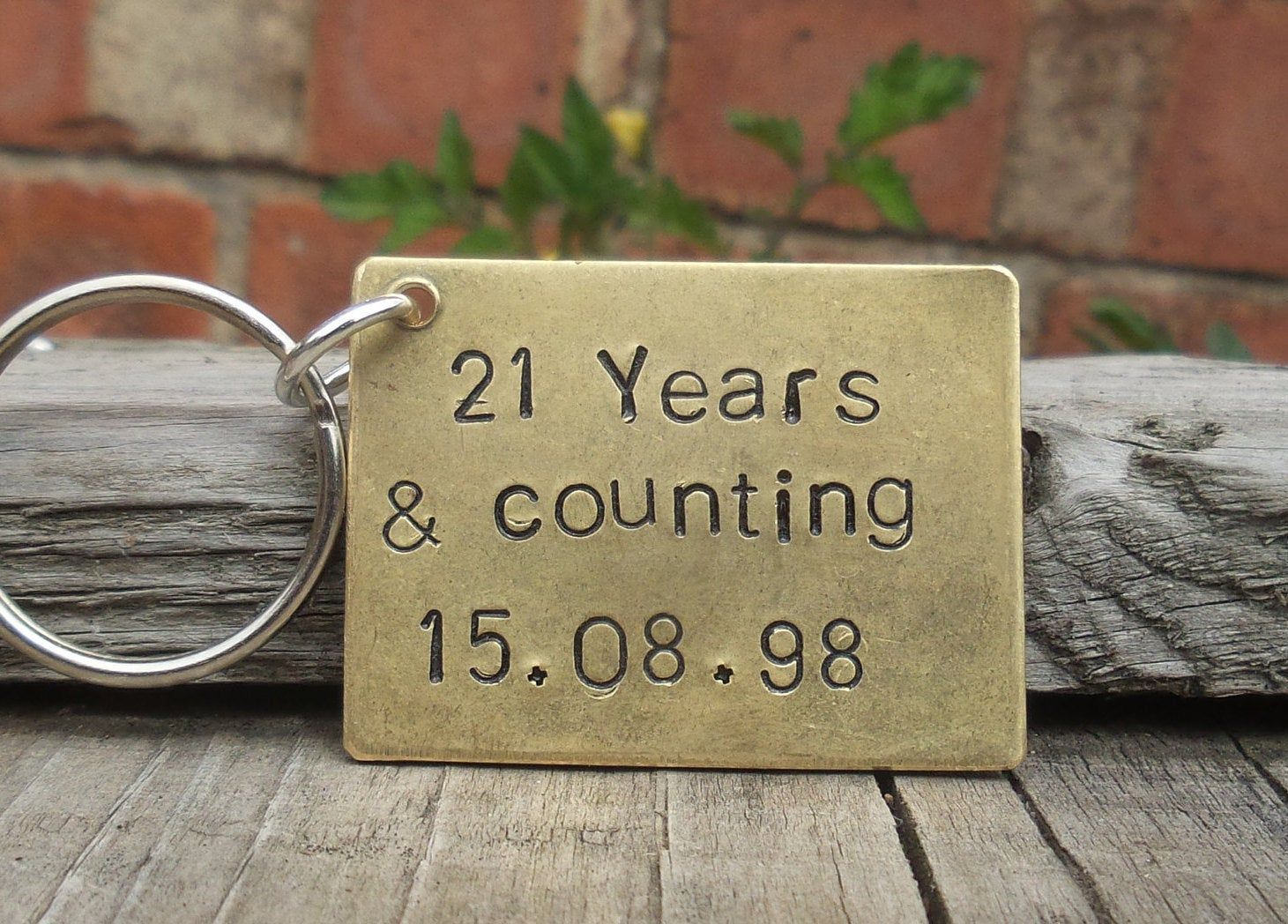 21 years and counting keyring personalised wedding date