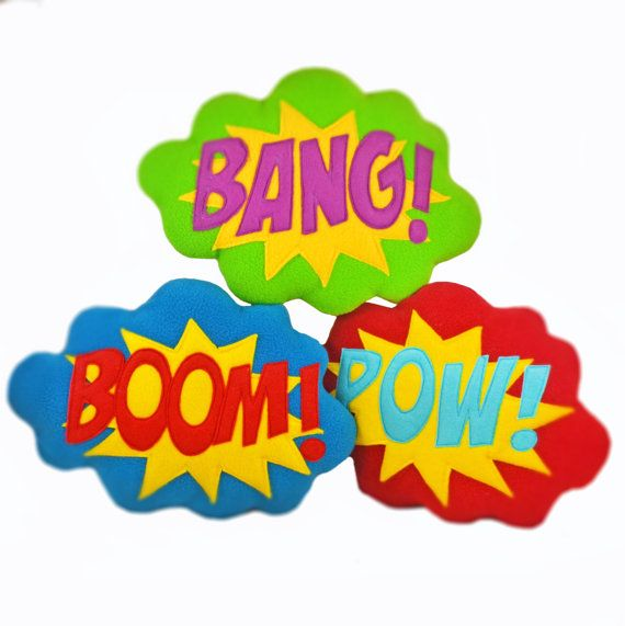 Bangboompow pillow cushion superhero sound effect speech bubble