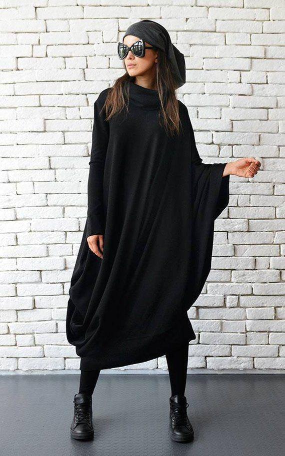 Women Long Sleeve Kaftan Asymetrical Dress Oversized Loose Blouse Dress Plus