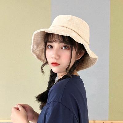 Harajuku Style Fisherman Hat Cotton Flat Top Plaid Bucket Hats Summer Kawaii  High Quality Vintage Street Women Fishermn Hats 3e71b7d2192