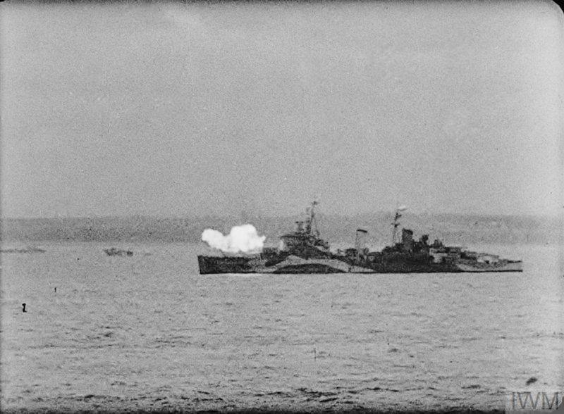 Hms Belfast At Anchor Off The Normandy Royal Navy Warship Battleship