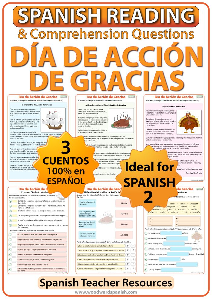 Printable Worksheets spanish reading worksheets : Spanish Thanksgiving Reading Passages and Worksheets | Reading ...