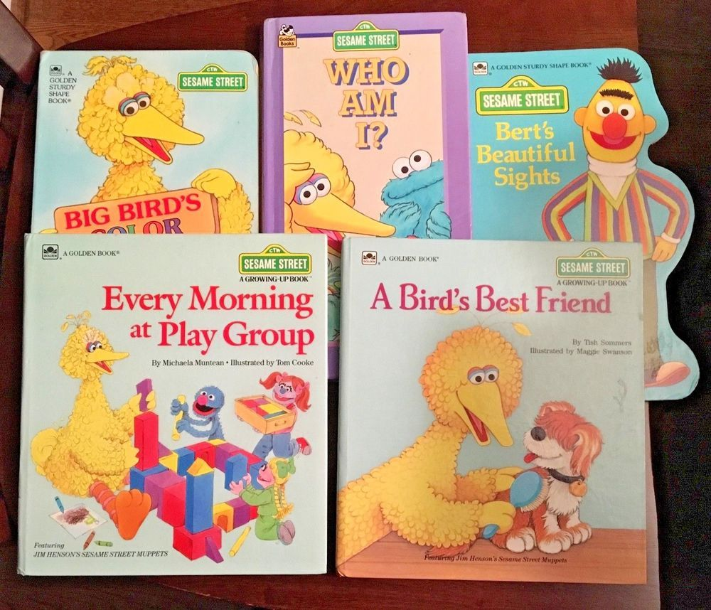 Lot of 5 Vintage Sesame Street Hardcover & Boardbook Golden