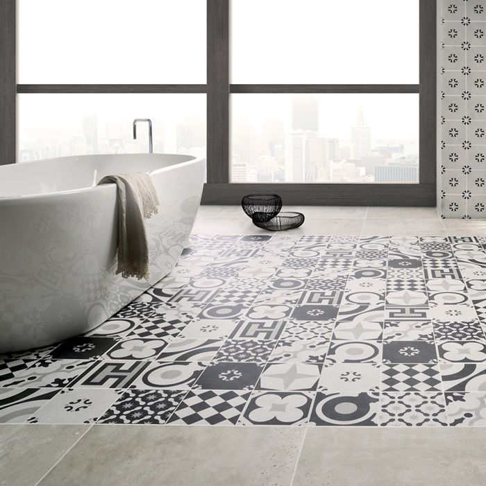 Cementine Black And White Porcelain Deco Tile Floor Wall