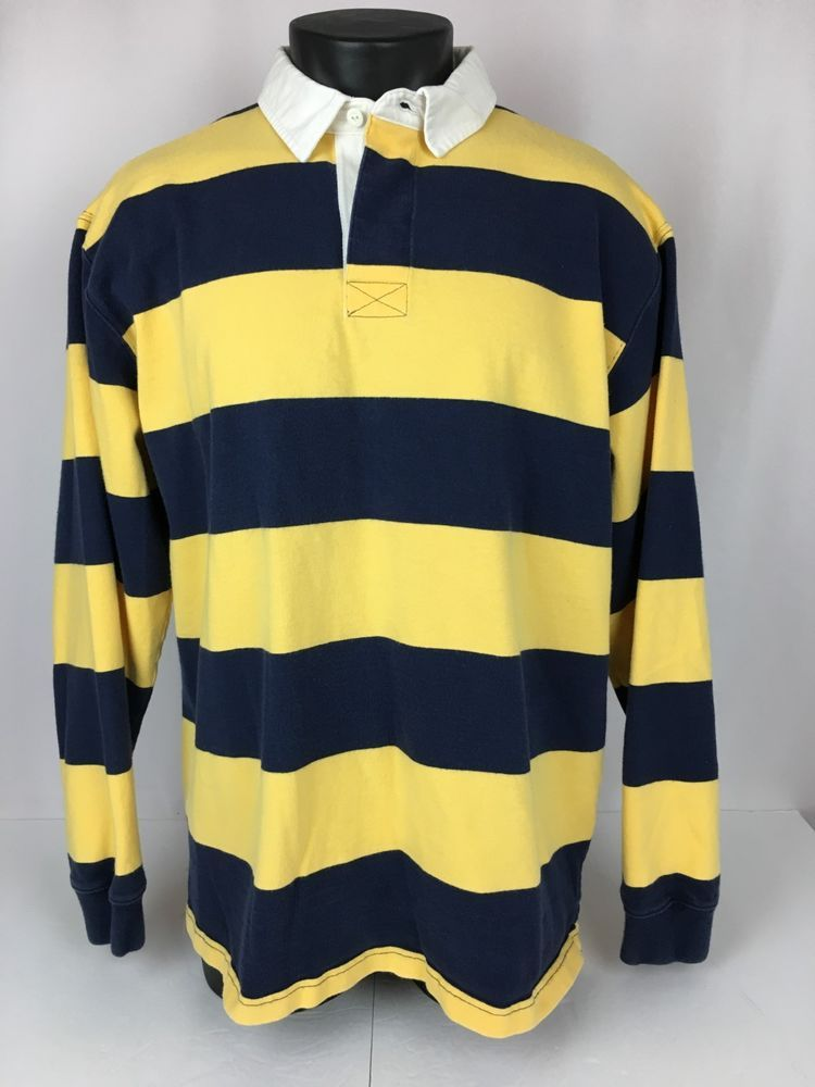 e16b8e887 LL Bean Men's L Rugby Polo Shirt U of Michigan Colors Blue Maize LS Striped  EUC #LLBean #Rugby