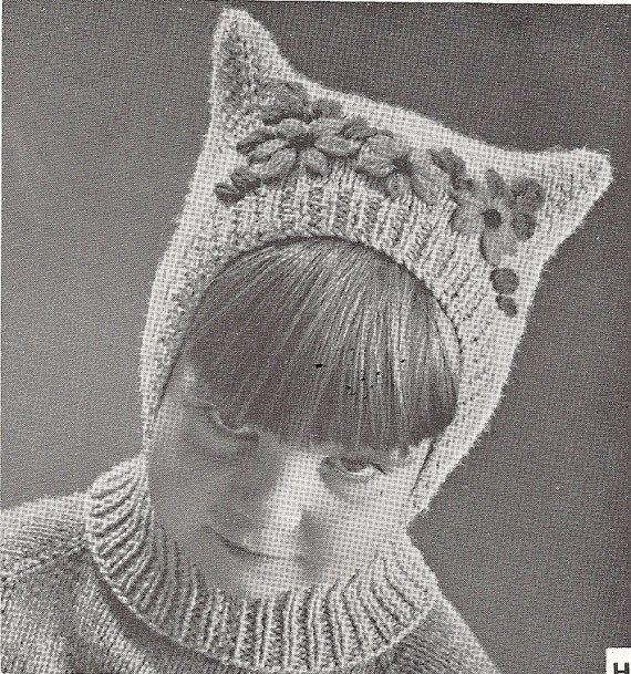 Jackieknitsall Vintage Pussy Cat Child Hat Balaclava Pattern Pdf