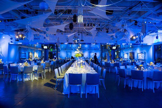 Silver Tables Blue Lighting Wedding Reception