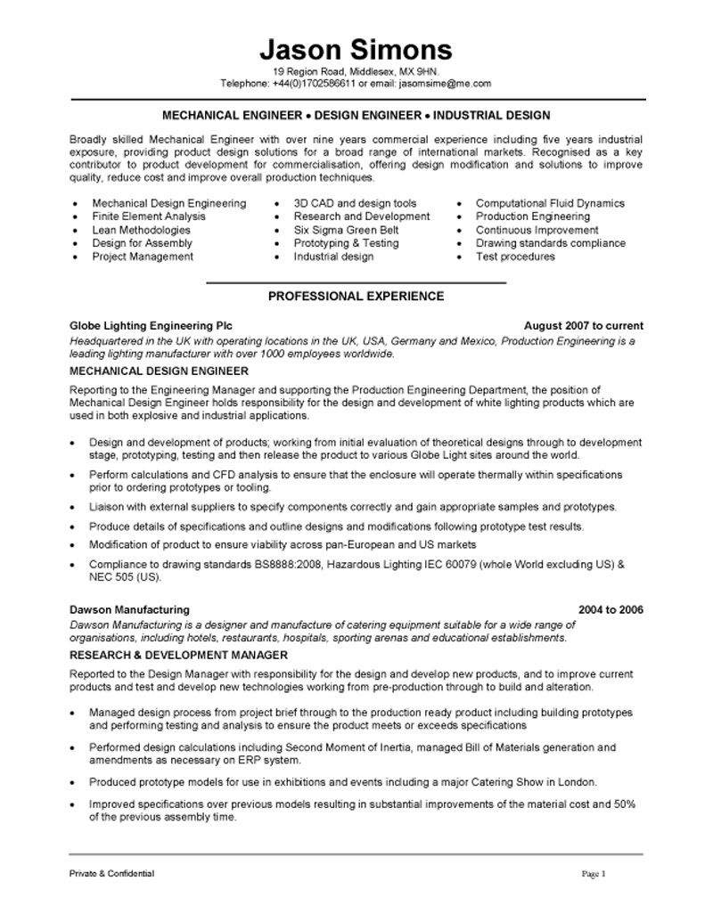 Mechanical engineer resume example