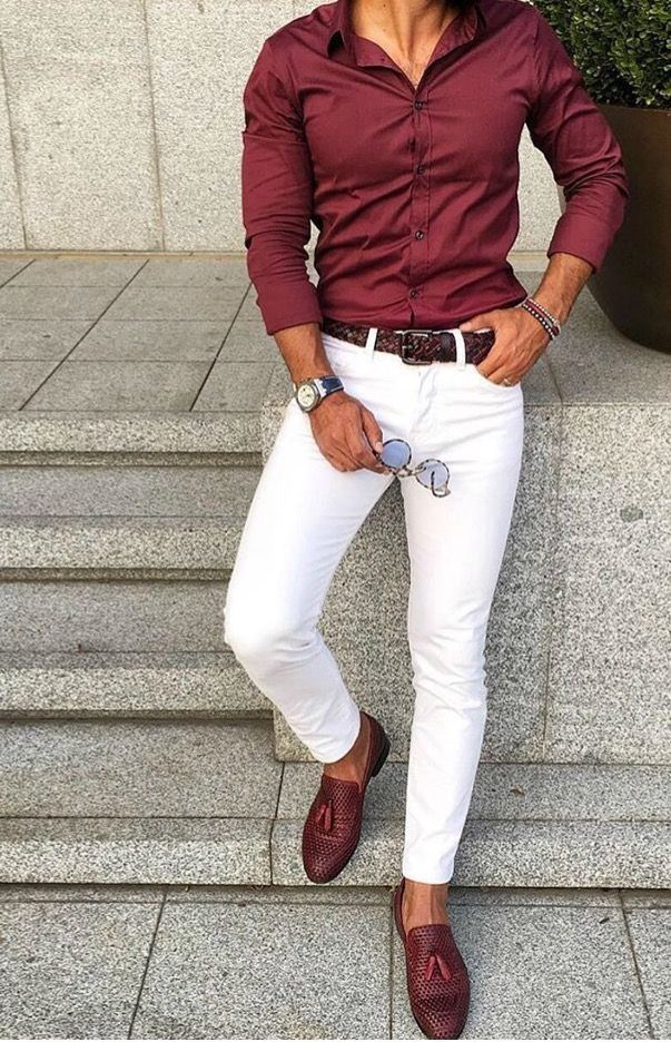 red shirt  white pants combination suit menswear  mens