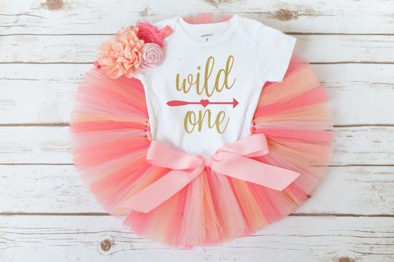 Coral peach and gold wild one first birthday outfit girl 'Rachel' girls birthday tutu outfit, wild one outfit girl, first birthday tutu set
