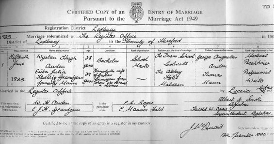 Marriage Certificate, W.H. Auden with Erika Grúndgens, [née Mann ...