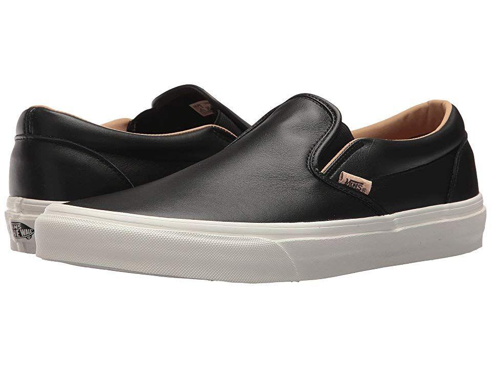 8085bf3d19 Vans Classic Slip-Ontm ((Lux Leather) Black Porcini) Skate Shoes ...