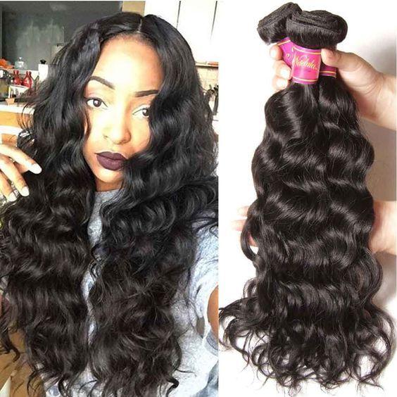 Nadula Peruvian Virgin Hair 4 Bundles Natural Wave Thick Wavy Human Weave