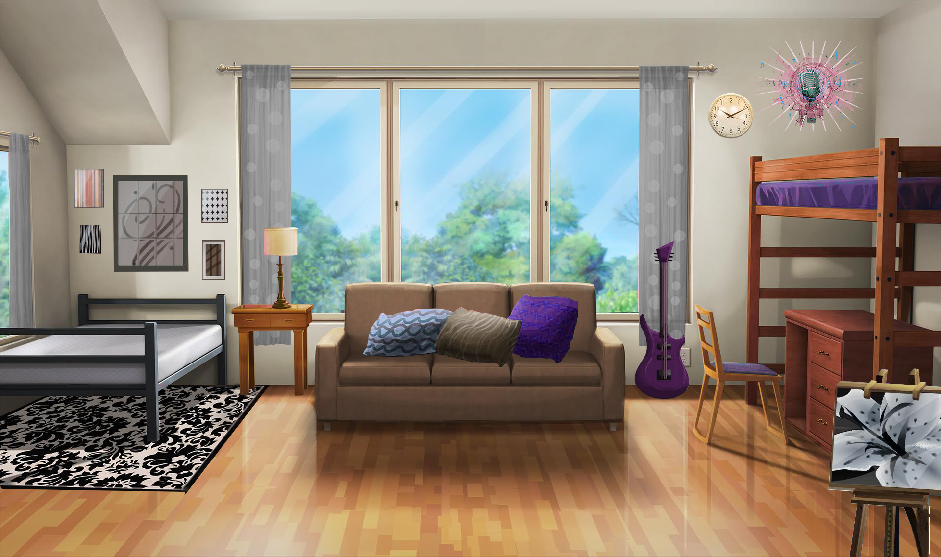 Int Dorm Room Guitar Day Fancy Living Rooms Episode Interactive Backgrounds Living Room Background