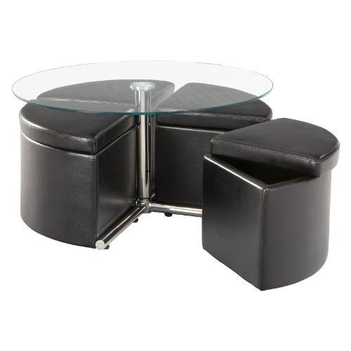 Pin On Home Kitchen, Adjustable Height Round Glass Top Coffee Table With 4 Storage Ottomans