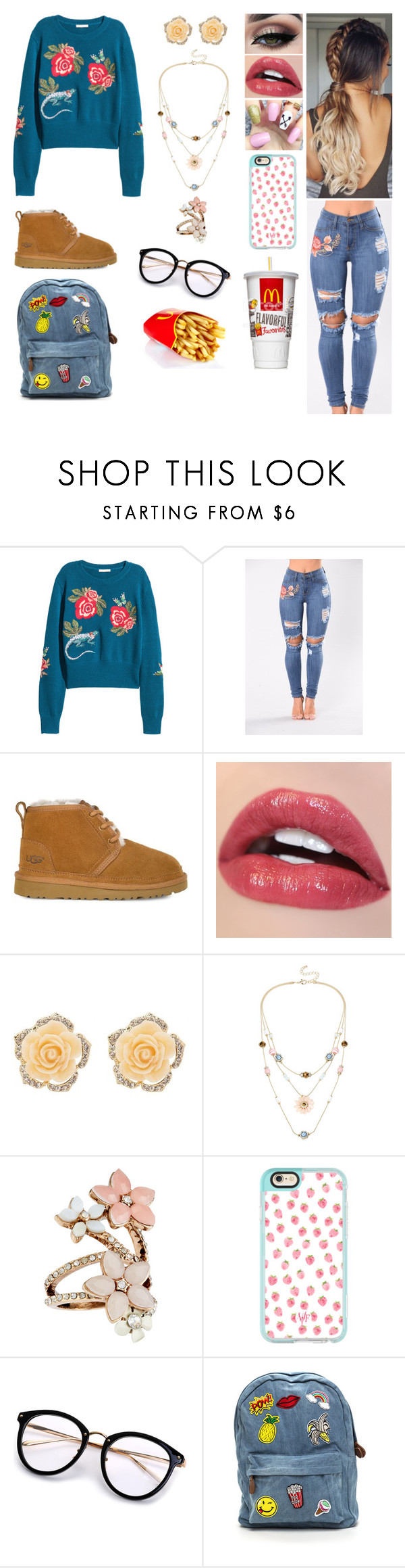 """""""Floral"""" by divinemaboundou ❤ liked on Polyvore featuring UGG, Tiger Mist, Charlotte Russe, Mixit, Accessorize and Casetify"""