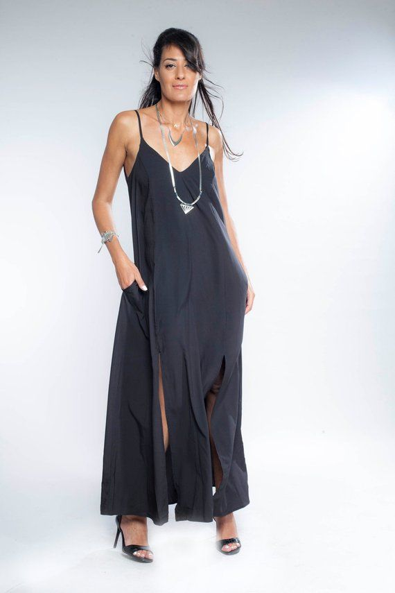 Womens Gift Black Maxi Dress Bridesmaid Dress Tank Top Dress