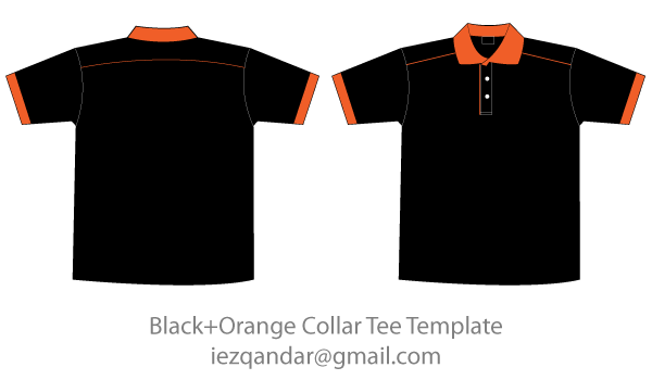 Free Black  Orange Collar TShirt Template  Free Black And Template