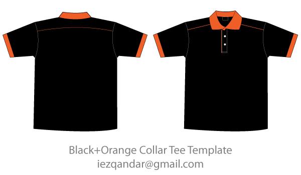 Download Free Black Orange Collar T Shirt Template Shirt Template Collar Tshirt Free Black