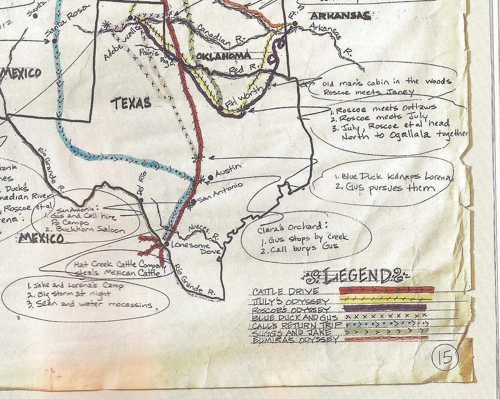 Copy of larry mcmurtrys cattle drive route map with his