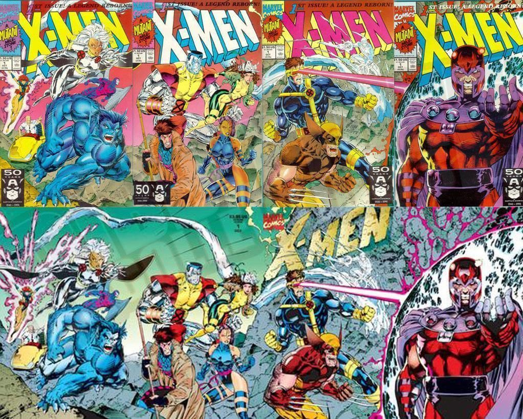 X Men 1 Vol 2 1991 Set Of All 5 Jim Lee Connecting Covers Near Mint Or Better X Men Cover Jim Lee