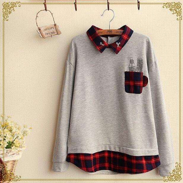 Fashion plaid splicing lapel fleece pullover Cute Kawaii Harajuku - clothing sponsorship