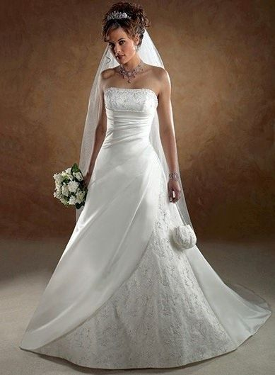 Strapless Ruched Dropped Waist Wedding Dresses