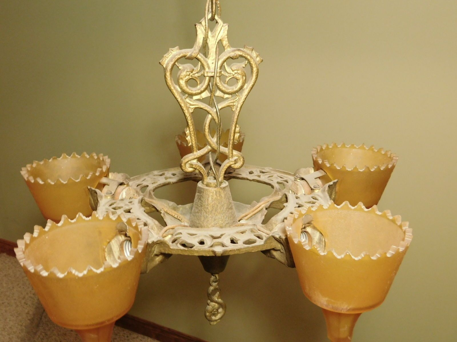 1930s antique art deco slip shade chandelier light fixture with 1930s antique art deco slip shade chandelier light fixture with amber shades arubaitofo Gallery