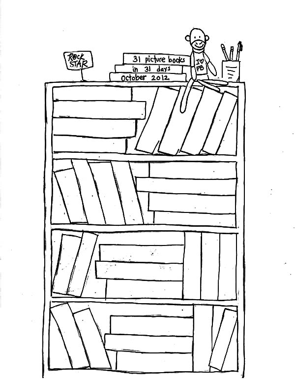 Pin On Bookshelf Coloring Pages