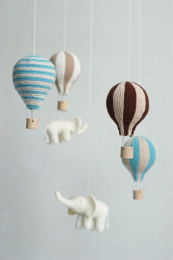 bebé móvil globo de aire caliente móvil vivero por Patricija