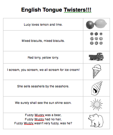 Beginner Tongue Twisters Worksheet Classroom Activities Tongue Twisters Tongue Twisters For Kids Tongue Twisters In English