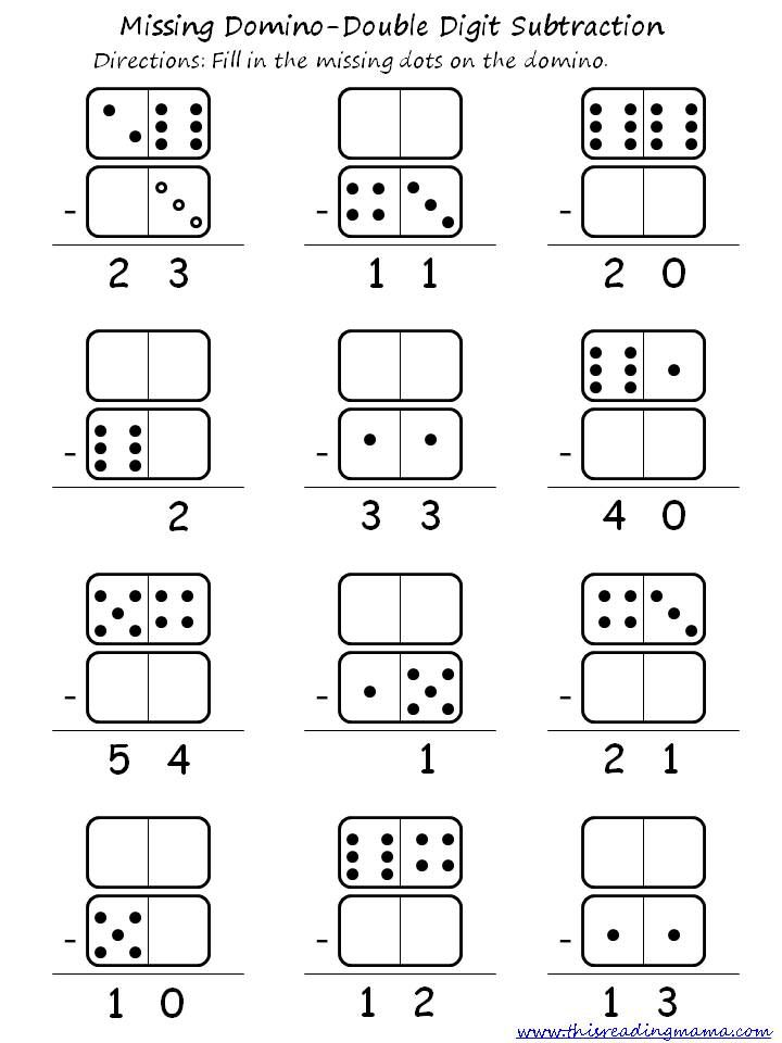 Double Digit Domino Addition and Subtraction – Dominoes Math Worksheets