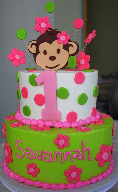 Claudine Pink Mod Monkey 1st Birthday Kids Cakes Pinterest