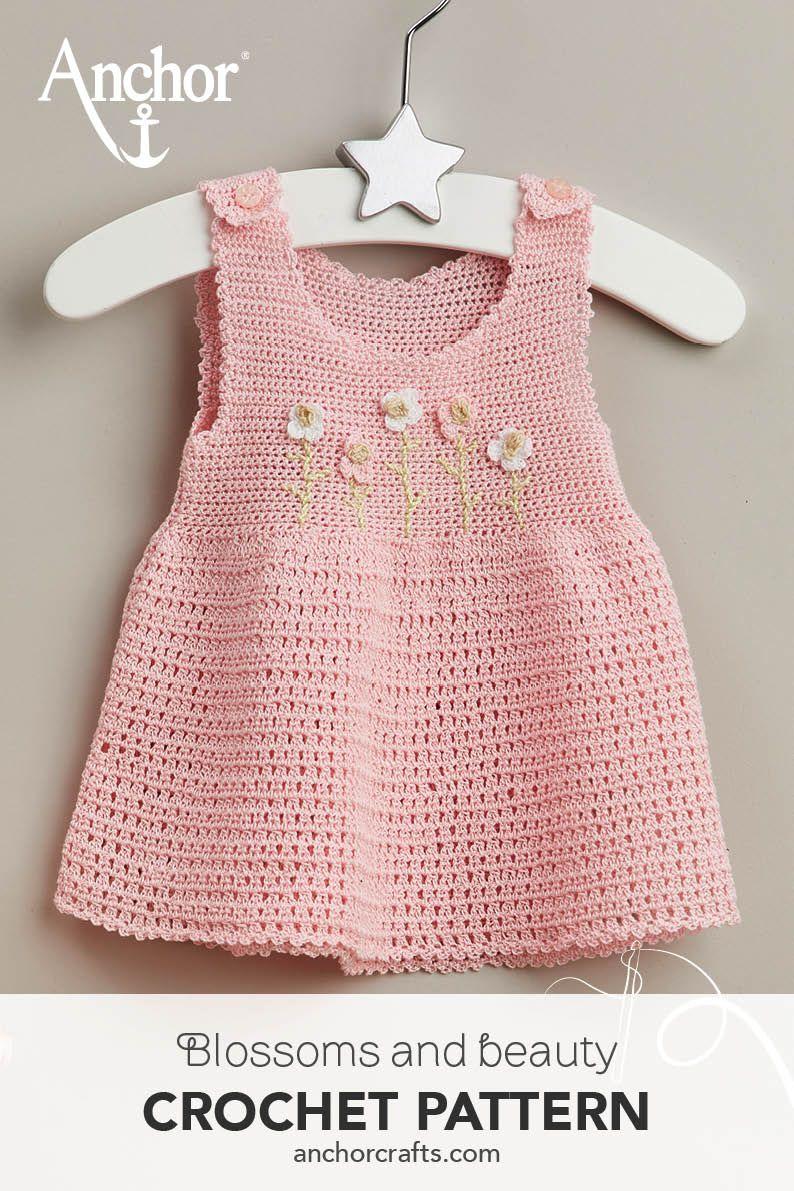 Adorable Baby # Häkeln #Kleid mit den applizierten #Blumen #Muster Made with An …   – Baby Fashion Crochet