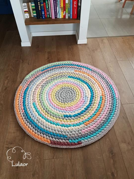 Crochet round rug,multicolor handmade rug, circle rug, living room ...