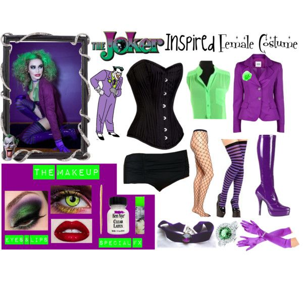Female Inspired Joker Costume by karla-cristina on Polyvore featuring mode, Moschino Cheap & Chic, Free People, Emilio Cavallini, Olivia Riegel, DC Shoes, Martino and female inspired joker costume halloween cosplay