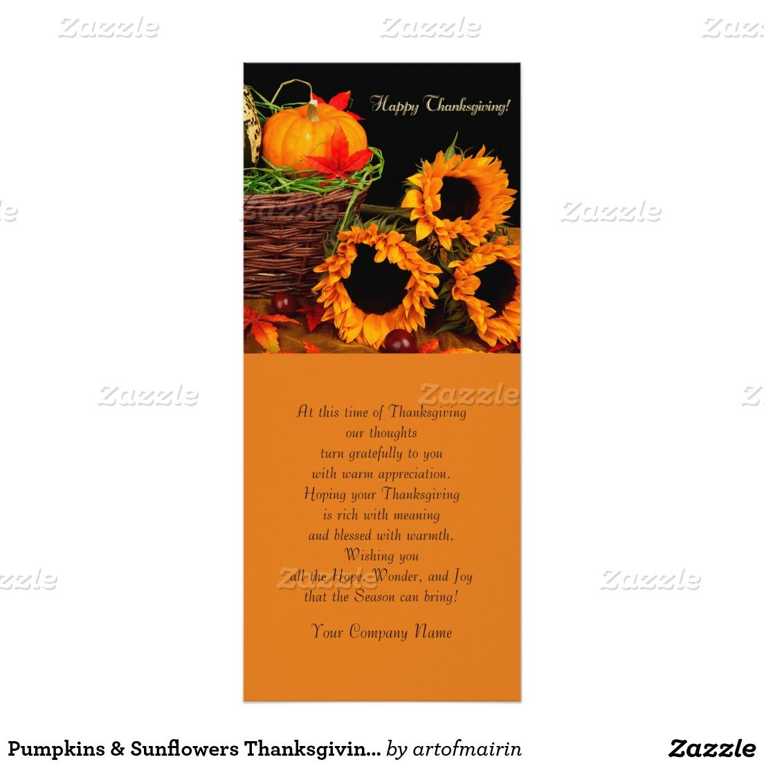 Happy thanksgiving pumpkins sunflowers thanksgiving pumpkins sunflowers thanksgiving customizable corporate business or personal flat greeting cards kristyandbryce Image collections