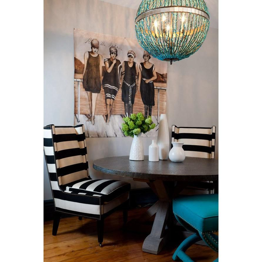 Alberto Orb Chandelier By Currey And Company Adds Some Punch To This Nautical Dining Set Up