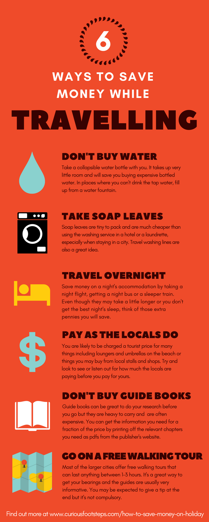 Top tips to save money whilst on holiday or travelling. For more great tips check out http://curiousfootsteps.com/how-to-save-money-on-holiday  Happy travels! :)