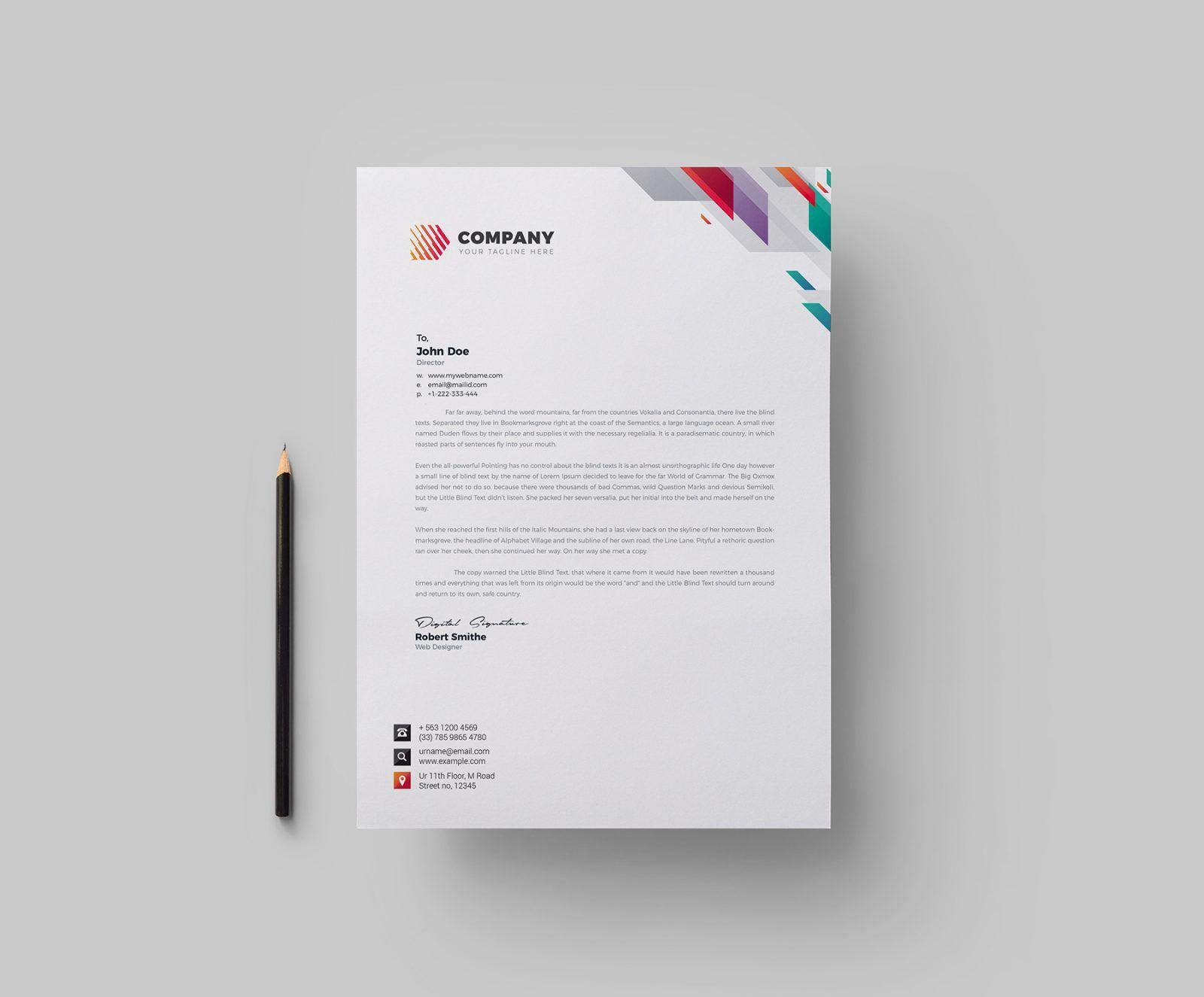 Vivid Corporate Letterhead Design Template 002166