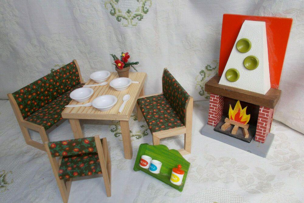Bodo Hennig Möbel 70er J 2x Bank Tisch Stuhl Kamin