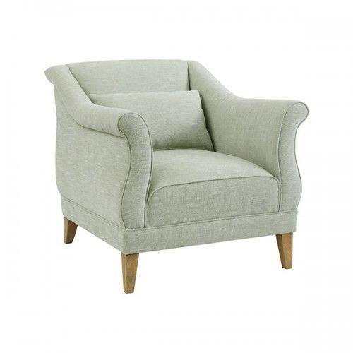 Seafoam Green Curved Arm Salon Accent Chair