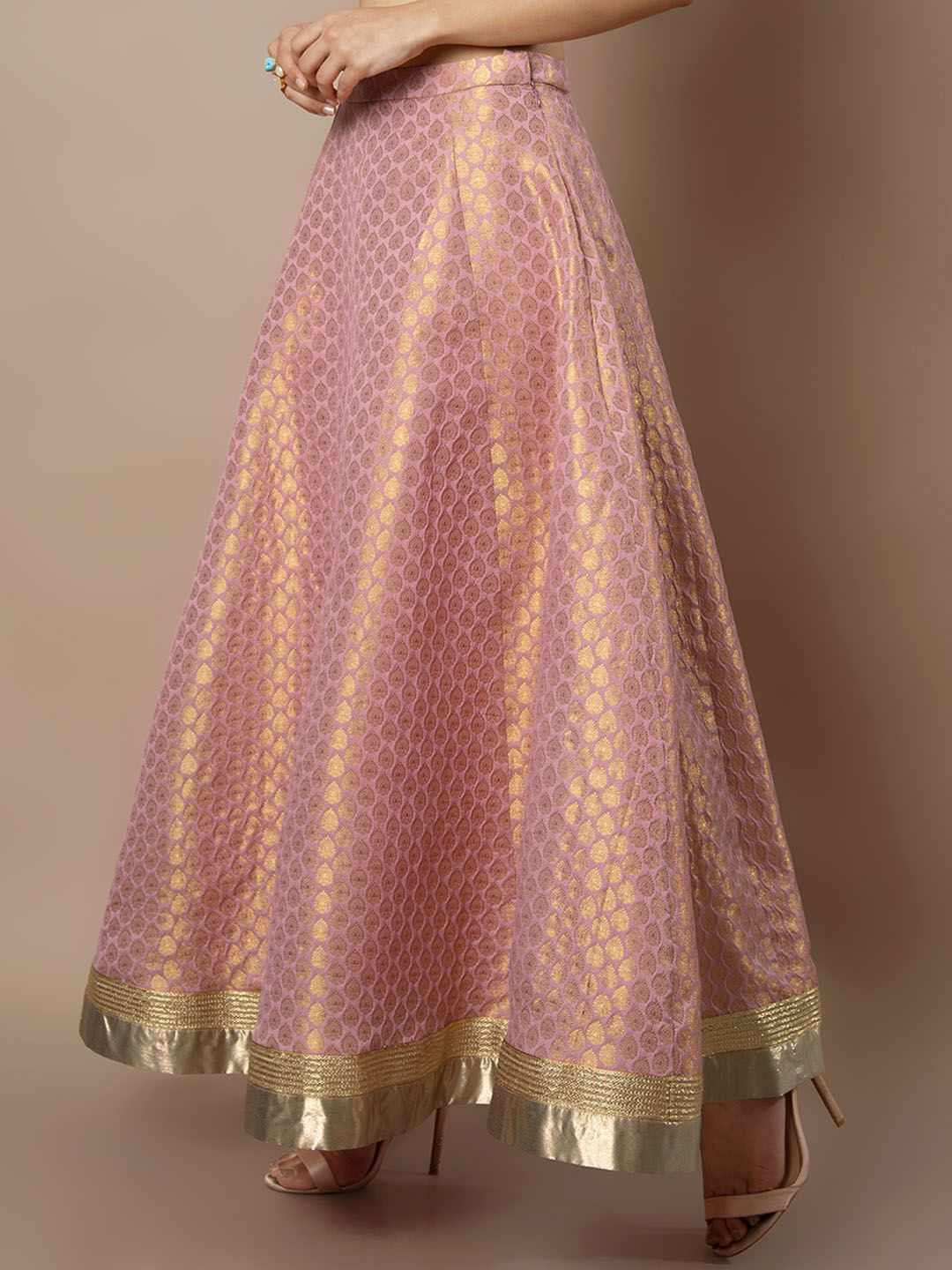 770d799f3 Buy INDYA Women Pink Panelled Brocade Flared Maxi Skirt - Skirts for Women  7503524 | Myntra