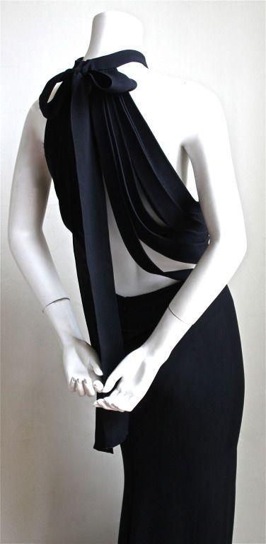 Yves Saint Laurent Edition Soir Black Silk Evening Gown With Unique Back Silk Evening Gown Evening Gowns Evening Dresses Vintage